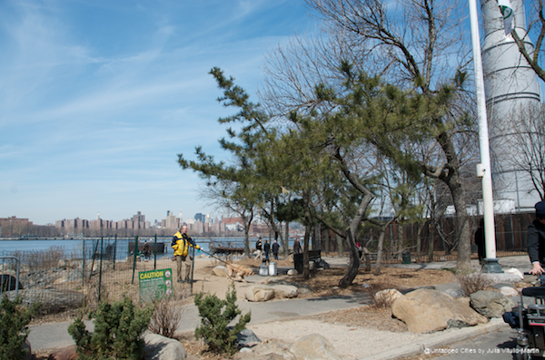 The area's only public park at the moment is Grand Ferry, snuggled between the Domino site and the New York Power Authority's Kent Avenue Power Project.