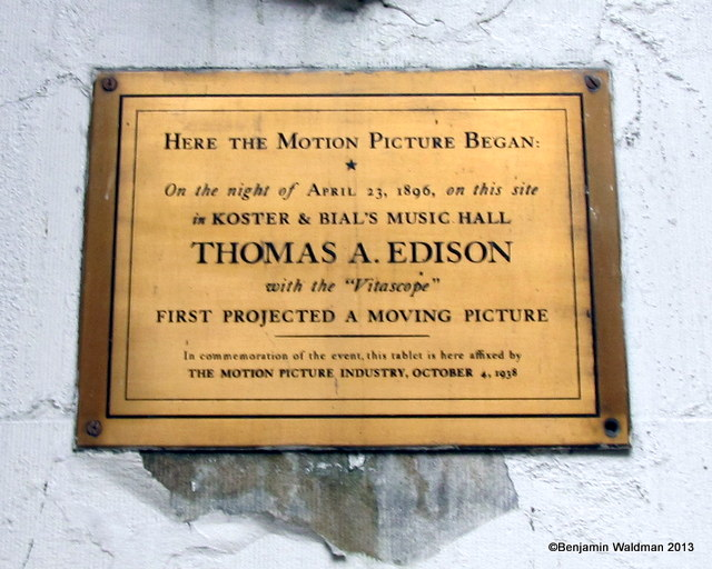 Thomas A Edison-Macys-Vitascope Plaque-Motion Picture Began-NYC